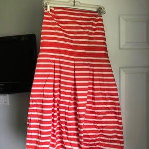 Orange and white strapless Gap Dress.
